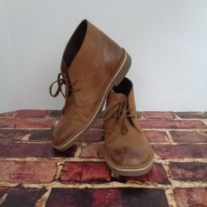 CLARKS Mens Brown Leather Ankle Chukka Boots 7.5 M